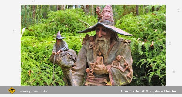 Сказочный парк Bruno's Art & Sculpture Garden. Marysville, Australia