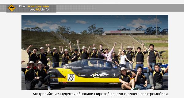 Австралийские студенты обновили мировой рекорд скорости электромобиля